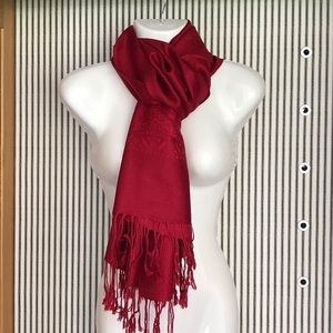 100% Pashmina scarf Red with Pattern